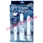 KIT DEL PIACERE WHITE NIGHTS DOC JOHNSON - ovetto, vibratore, olio per massaggi e  stimolatore clitorideo